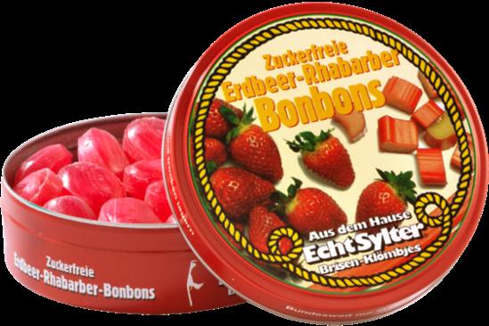 Erdbeer Rhabarber Bonbons   zuckerfrei   70g